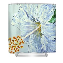 Shower Curtain featuring the painting Hibiscus White And Yellow by Sheron Petrie