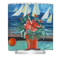 Hibiscus With An Orange And Sails For Breakfast Shower Curtain