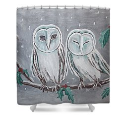 Shower Curtain featuring the painting Hiboux En Hiver by Victoria Lakes