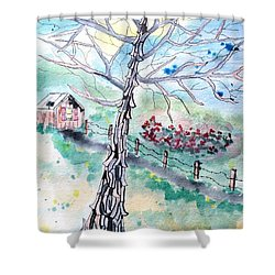 Shower Curtain featuring the painting Hickory by Denise Tomasura