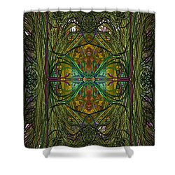 Shower Curtain featuring the digital art Hidden Aztec Temple by Reed Novotny