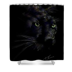 Shower Curtain featuring the digital art Hidden Cat by Darren Cannell