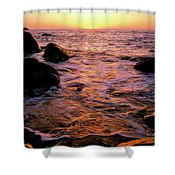 Hidden Cove Sunset Redwood National Park Shower Curtain by Ed  Riche