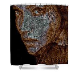 Shower Curtain featuring the digital art Hidden Face In Sepia by Rafael Salazar
