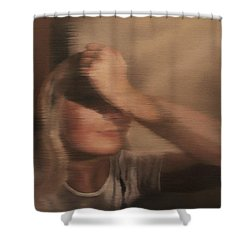 Shower Curtain featuring the painting Hidden Gaze by Cherise Foster
