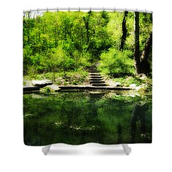 Hidden Pond At Schuylkill Valley Nature Center Shower Curtain by Bill Cannon