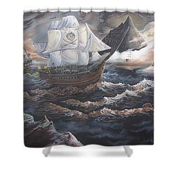 Shower Curtain featuring the painting Hidden Skull Cove by Kevin F Heuman