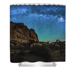 Hidden Valley Milky Way Panorama Shower Curtain by Robert Loe