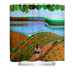 Hidden Water From Above Shower Curtain by Lorna Maza