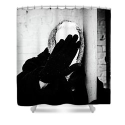 Shower Curtain featuring the photograph Hidden Woman In Black Fur by John Williams
