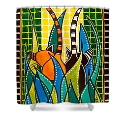 Hide And Seek - Cat Art By Dora Hathazi Mendes Shower Curtain