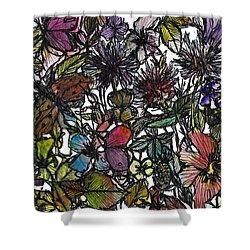 Hide And Seek In Wildflower Bushes Shower Curtain by Garima Srivastava