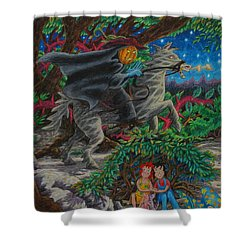 Shower Curtain featuring the painting Hiding From The Wraith Rider ... by Matt Konar