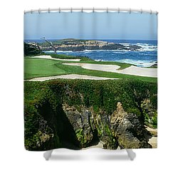 High Angle View Of A Golf Course Shower Curtain