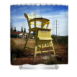 High Chair. I Wonder Where The Giant Shower Curtain by Sean Wray