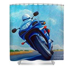 High Desert Pass - Suzuki Gsxr1000 Shower Curtain by Brian  Commerford