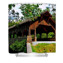 High Falls Covered Bridge Shower Curtain