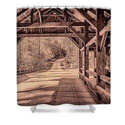 High Falls Covered Bridge Shower Curtain