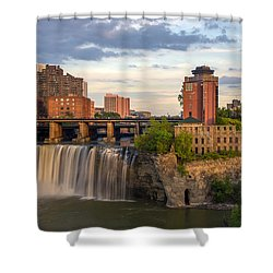 Shower Curtain featuring the photograph High Falls District Rochester by Mark Papke