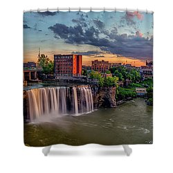 Shower Curtain featuring the photograph High Falls Panorama by Mark Papke