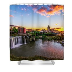 Shower Curtain featuring the photograph High Falls Rochester Ny by Mark Papke