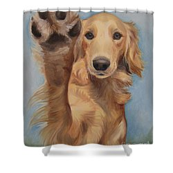 Shower Curtain featuring the painting High Five by Jindra Noewi