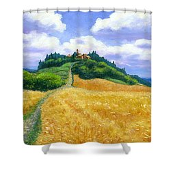 Shower Curtain featuring the painting High Noon Tuscany  by Michael Swanson