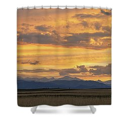 Shower Curtain featuring the photograph High Plains Meet The Rocky Mountains At Sunset by James BO Insogna