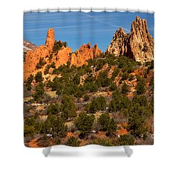 Shower Curtain featuring the photograph High Point Rock Towers by Adam Jewell