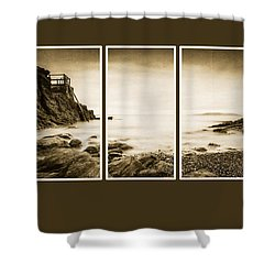 High Rock Triptych Shower Curtain by Martina Fagan