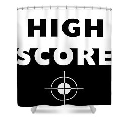 Shower Curtain featuring the mixed media High Score- Art By Linda Woods by Linda Woods