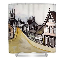 High Street Of Stamford In England Shower Curtain by Dora Hathazi Mendes