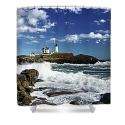 High Surf At Nubble Light Shower Curtain