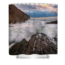 High Tide At Bald Head Cliff Shower Curtain by Rick Berk