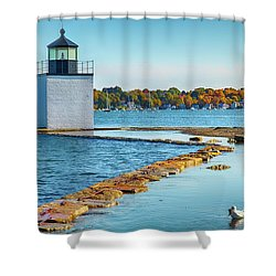 Shower Curtain featuring the photograph High Tide At Derby Wharf In Salem by Jeff Folger