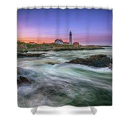 Shower Curtain featuring the photograph High Tide At Portland Head Lighthouse by Rick Berk