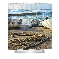 Shower Curtain featuring the photograph High Tide In Sennen Cove Cornwall by Terri Waters