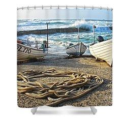 High Tide In Sennen Cove Cornwall Shower Curtain