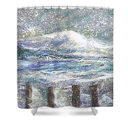 Shower Curtain featuring the painting High Tide In Snow Storm by Rita Brown