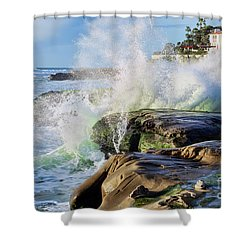 High Tide On The Rocks Shower Curtain by Eddie Yerkish