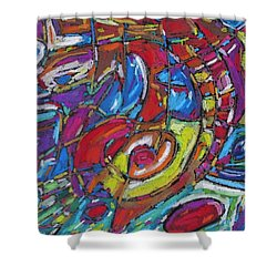Shower Curtain featuring the pastel High Tide Swim Off The Bridge by Dianne  Connolly
