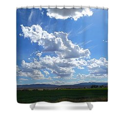 High Winds Chase The Rain Clouds Away Shower Curtain by Annie Gibbons