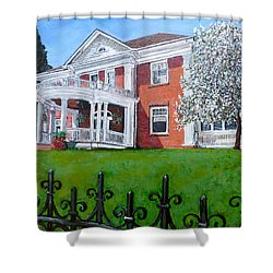 Shower Curtain featuring the painting Highland Homestead by Tom Roderick