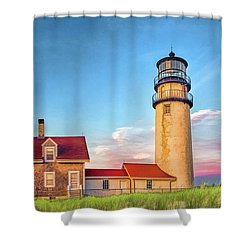 Shower Curtain featuring the painting Highland Lighthouse by Christopher Arndt