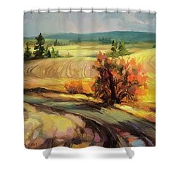 Shower Curtain featuring the painting Highland Road by Steve Henderson