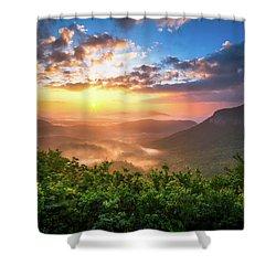 Highlands Sunrise - Whitesides Mountain In Highlands Nc Shower Curtain by Dave Allen