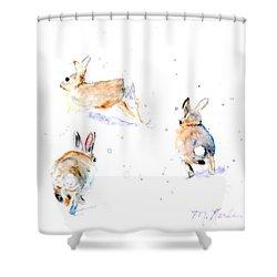 Hightailing Bunnies Shower Curtain