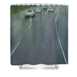 Highway On The Rain02 Shower Curtain by Helal Uddin