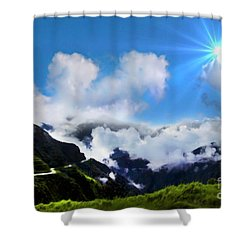 Highway Through The Andes - Painting Shower Curtain by Al Bourassa