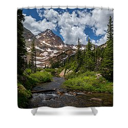 Hiking Into A High Alpine Lake Shower Curtain